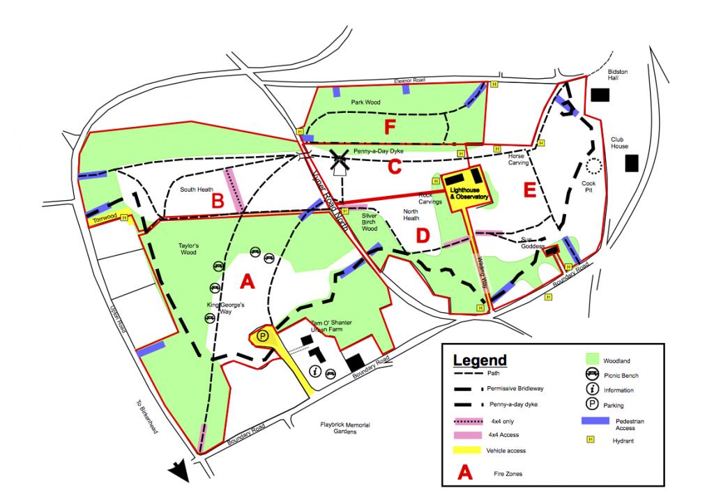 Bidston Hill Fire Zones